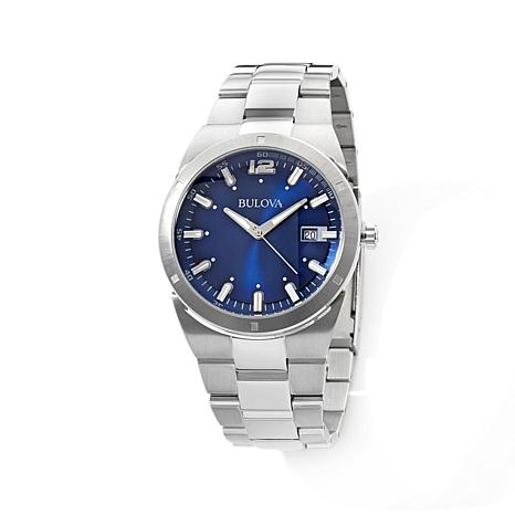 Bulova Men's Stainless Steel Blue Dial Dress Watch