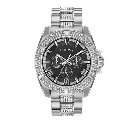 Bulova Men's Stainless Steel Crystal Watch