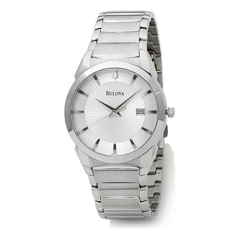 f9ab249a686 Bulova Men s White Sunray Dial Stainless Steel Bracelet Dress Watch ...
