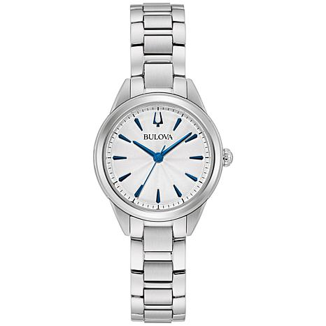 Bulova Stainless Steel Women's Blue Marker Bracelet Watch