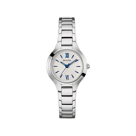 Bulova White Dial with Blue Markers Bracelet Watch