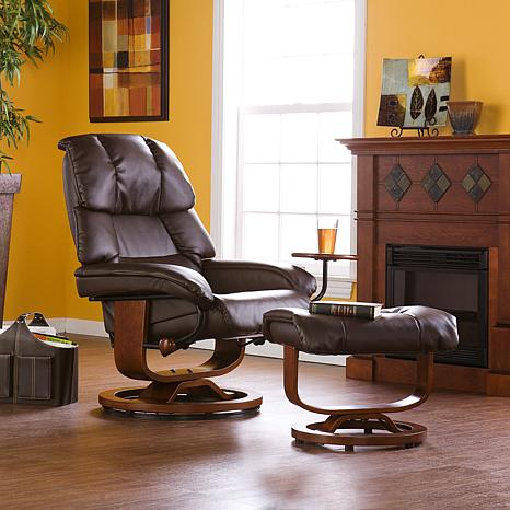 Cafe Brown Bonded Leather Recliner and Ottoman