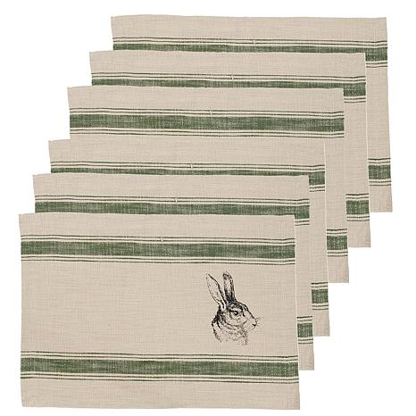 C&F Home Bunny Feed Sack Cotton Placemat Set of 6
