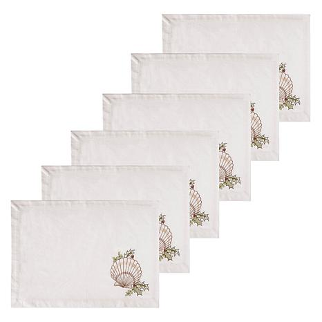 C&F Home Shells with Holly Cotton Quilted Placemat Set of 6