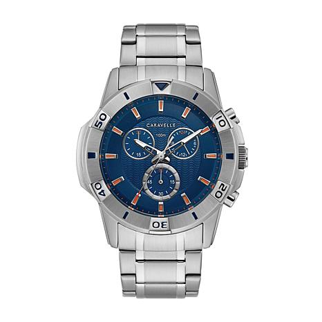 Caravelle by Bulova Men's Stainless Steel Blue Dial Chronograph Watch