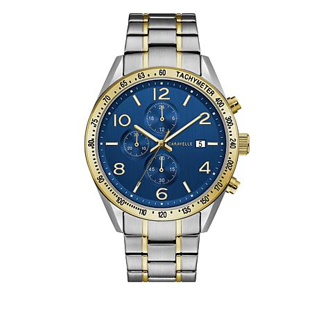 Caravelle Men's Blue Dial 2-Tone Chronograph Subdial Watch