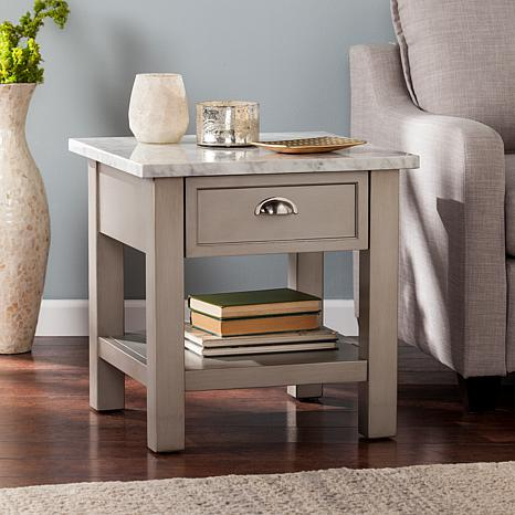 Caris Faux Marble Square End Table - Gray