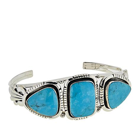 Chaco Canyon 3-Stone Kingman Turquoise Sterling Silver Cuff Bracelet
