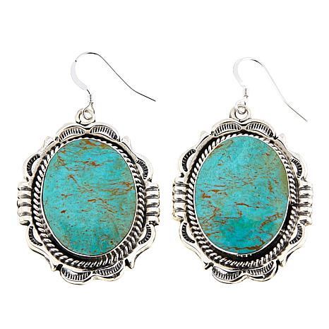 Chaco Canyon Ceremonial Green Turquoise Drop Earrings