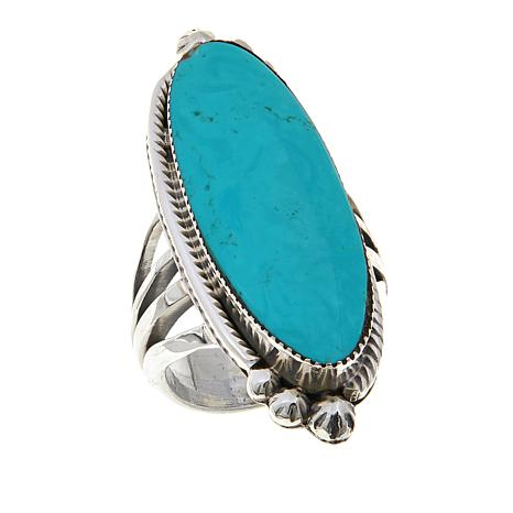 Chaco Canyon Elongated Oval Kingman Turquoise Ring