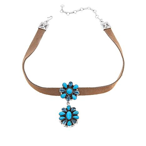 Chaco Canyon Floral Kingman Turquoise and Swiss Blue Topaz Choker