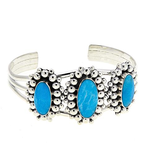 Chaco Canyon Kingman Turquoise 3-Stone Sterling Silver Cuff Bracelet