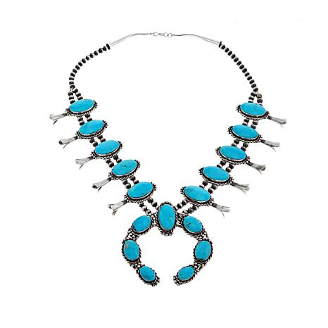 "Chaco Canyon Southwest Kingman Turquoise Squash Blossom 25"" Necklace"