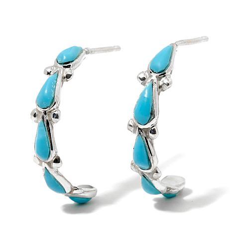 Chaco Canyon Southwest Zuni Turquoise J-Hoop Earrings