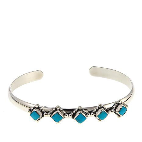 Chaco Canyon Square Kingman Turquoise 5-Stone Sterling Silver Cuff