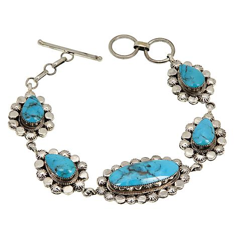 Chaco Canyon Sterling Silver Blue Kingman Turquoise Toggle Bracelet