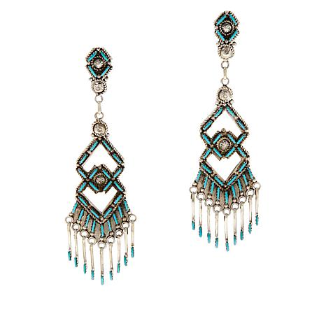 Chaco Canyon Sterling Silver Kingman Turquoise Chandelier Earrings