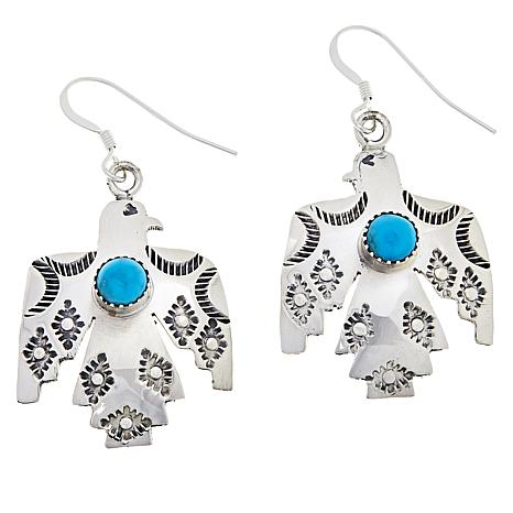 """Chaco Canyon Sterling Silver Kingman Turquoise """"Thunderbird""""  Earrings"""