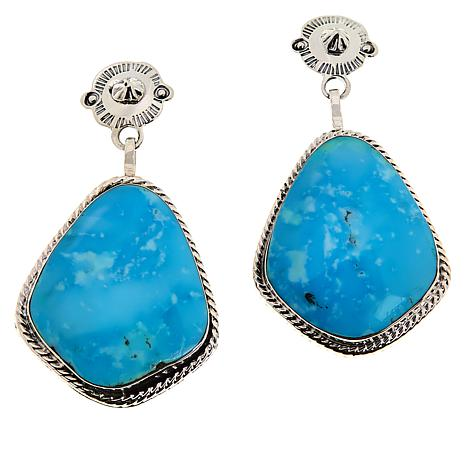 Chaco Canyon Sterling Silver Turquoise Kite Drop Earrings