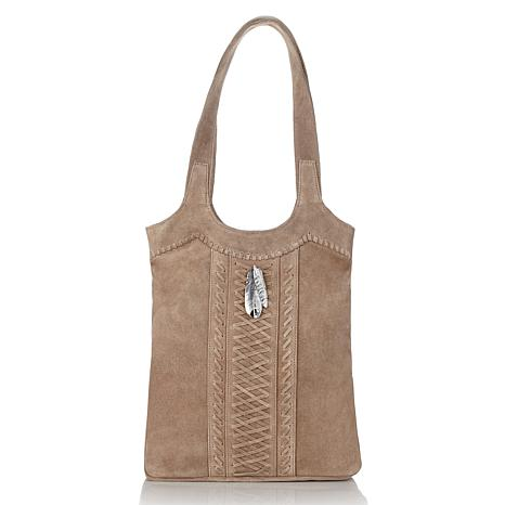 Chaco Canyon Suede Tote with Feather Pendant