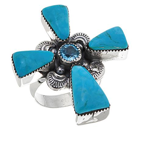 Chaco Canyon Swiss Blue Topaz and Turquoise Cross Ring