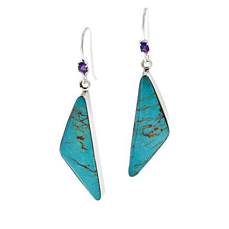 Chaco Canyon Triangular Ceremonial Turquoise and Amethyst Earrings