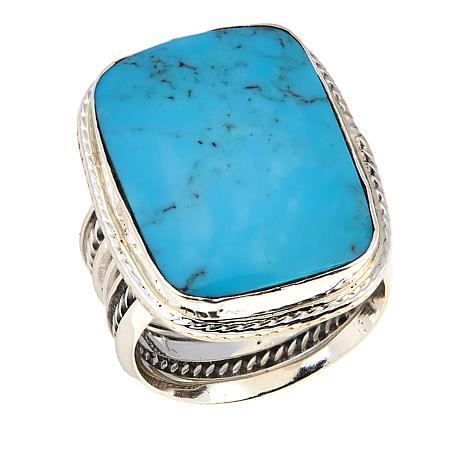 Chaco Canyon Wide Rectangular Kingman Turquoise Sterling Silver  Ring