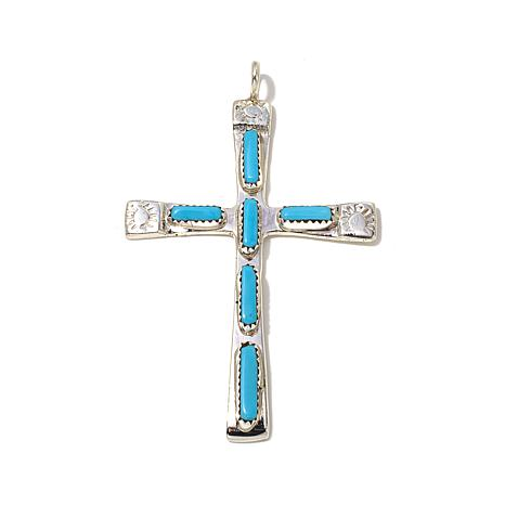cb44b2eae2f66a Chaco Canyon Zuni Sleeping Beauty Turquoise Sterling Silver Cross ...