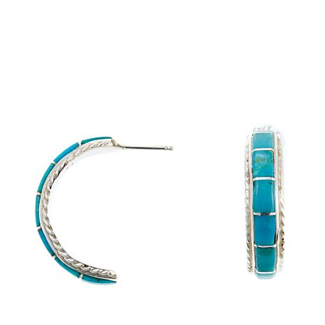 Chaco Canyon Zuni Sleeping Beauty Turquoise Hoops