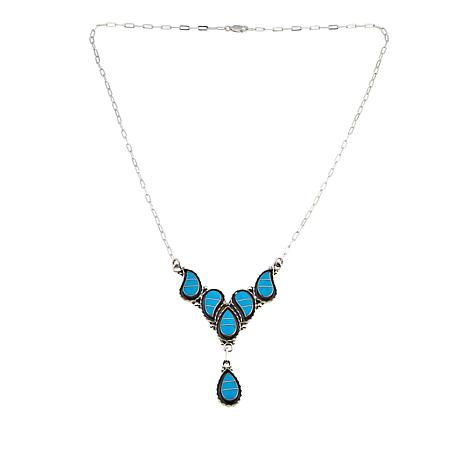 "Chaco Canyon Zuni Sleeping Beauty Turquoise  Inlay 21"" Necklace"