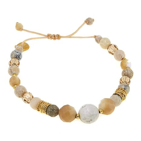 Chan Luu African Opal And Mixed Stone Adjule Pull String Bracelet