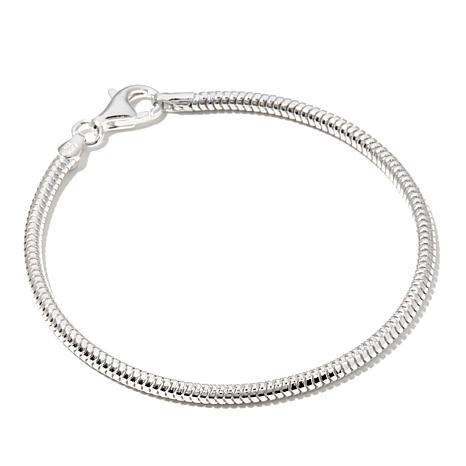 "Charming Silver Inspirations Snake Chain 7.5"" Bracelet"