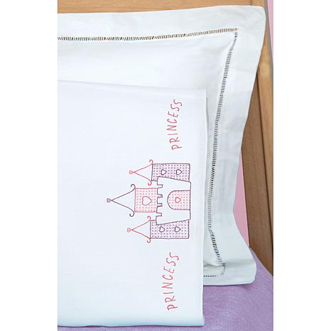 Children's Stamped Pillowcase With White Perle Edg