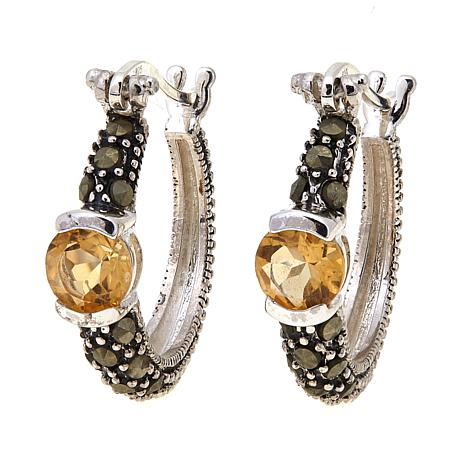 Citrine  and Gray Marcasite  Hoops - November