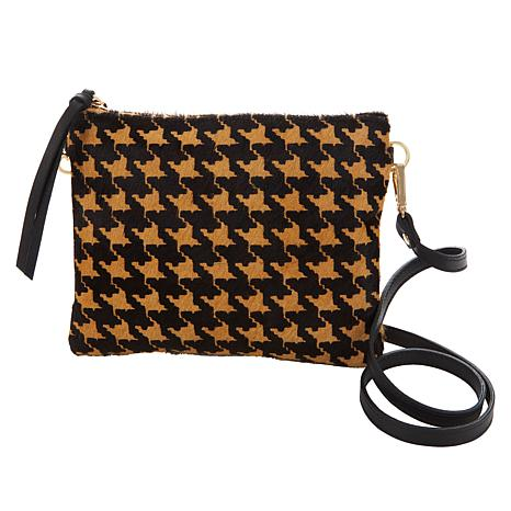 Clever Carriage Houndstooth Calfhair Leather Crossbody