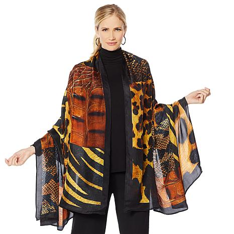 Clever Carriage Jungle Collage Silk Scarf