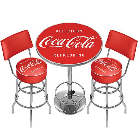 Coca Cola Gameroom Combo   Table/2 Stools With Backs