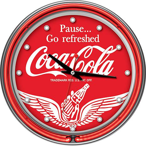 Coca-Cola Wings Clock with Two Neon Rings