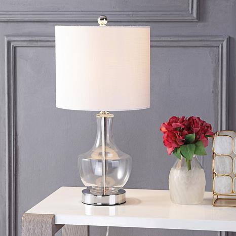 glass LED table lamp. How to decorate or style your entry way.