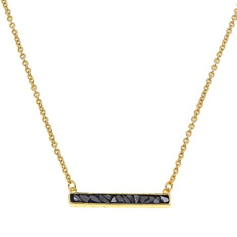 Collections by Joya Bar Drop Necklace with Black Diamond Shards