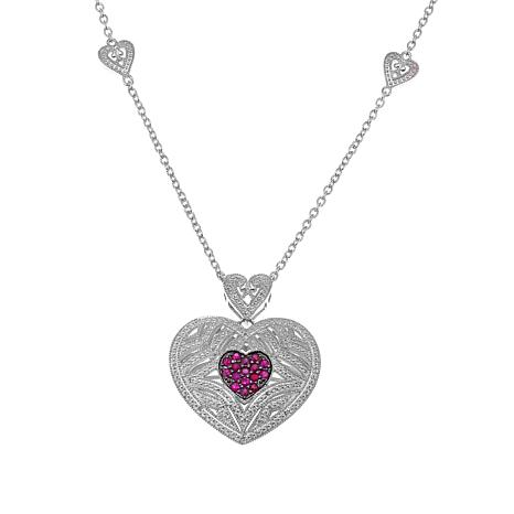 Colleen Lopez 0.41ctw Ruby and Diamond Heart Necklace