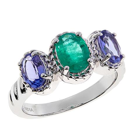 Colleen Lopez 1.2ctw Emerald and Purple Tanzanite 3-Stone Ring