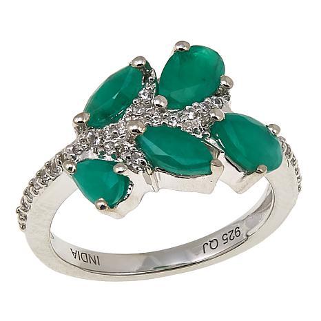 Colleen Lopez 1.51ctw Sakota Emerald and White Zircon Ring