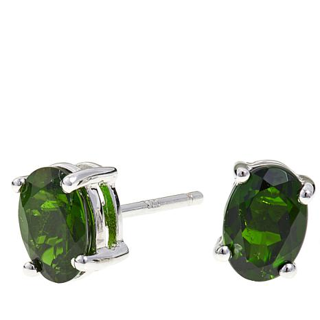 Colleen Lopez 1.5ctw Oval Chrome Diopside Stud Earrings
