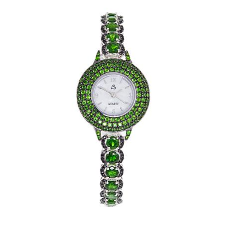 Colleen Lopez 17.46ctw Chrome Diopside and Black Spinel Bracelet Watch