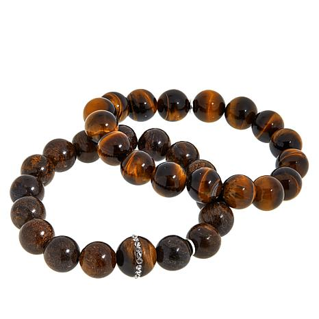 Colleen Lopez 2-piece Gemstone Bead Bracelet Set