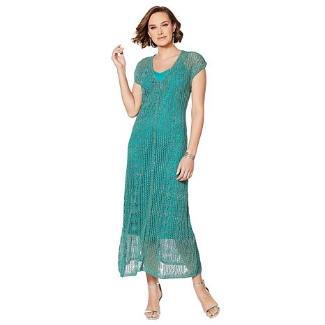Colleen Lopez 2-Tone Crochet Knit Maxi Dress with Slip