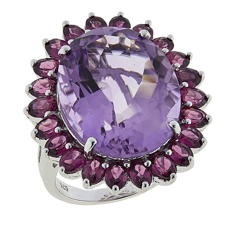 Colleen Lopez 23.43ctw Rose de France Amethyst and Rhodolite Ring