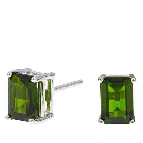 Colleen Lopez 2ctw Emerald-Cut Chrome Diopside Earrings
