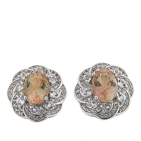 Colleen Lopez 3.01ctw Oregon Sunstone and White Topaz Stud Earrings